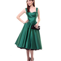 Emerald Green Satin Happily Ever After Pleated Swing Dress - Unique Vintage - Prom dresses, retro dresses, retro swimsuits.