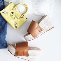 SheLEN FRINGE WEDGE MULES (4 colors)