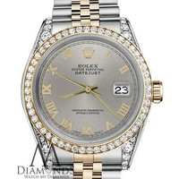 Classic Rolex 31mm Datejust 18K SS Slate Grey Roman Numeral Dial with Diamond
