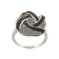 Close Out Sales Item: Black & White 925 Sterling Silver Ring