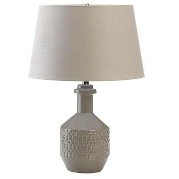 Gray Porcelain Table Lamp with Linen Shade