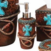 Tooled Leather & Turquoise Cross Lotion Pump