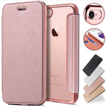 Case For iPhone X 6 6s 7 8 Plus 5 5s SE Luxury Rose Gold Plating Plate Coque Flip Back Clear Mobile Phone 360 Full Body Cover