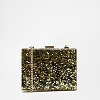 ALDO Box Clutch With Gold Confetti Detail With Chain Shoulder Strap