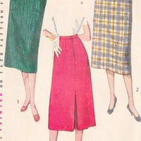 """1950s Simple To Make Skirt with Back Kick Pleat Vintage Sewing Pattern, Mad Men, Office Fashion, Simplicity 4377 Waist 28""""  hips 37"""""""