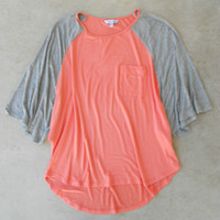 Colorblock Baseball Tee in Peach [5070] - $22.00 : Vintage Inspired Clothing & Affordable Dresses, deloom | Modern. Vintage. Crafted.