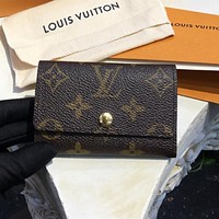 LV Louis Vuitton Popular Unisex Monogram Print Buckle Canvas Key Pouch Key Packet I
