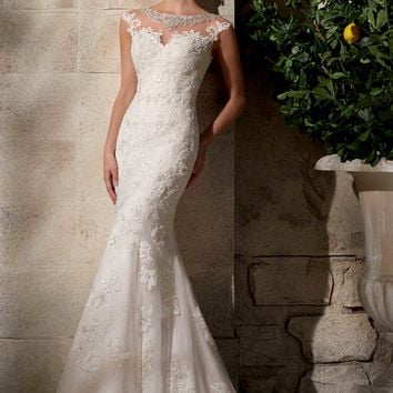 Mori Lee 2702 Wedding Dress with Sheer Lace Back