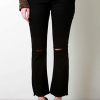 Distressed Knee Frayed Hem Flare Jeans