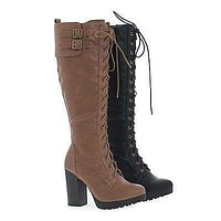 Kimber11 By Wild Diva, Knee High Corset Lace Up High Heel Lug Sole Moto Boots