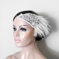 Great Gatsby Wedding Hair Hairpiece 1920s Feather Pearls Ivory White Bridal Hair Accessories