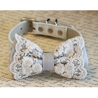 Lace Silver Dog Bow Tie collar, Pet wedding accessory, boho, Victorian