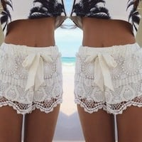 2014 New Fashion Summer Casual Lace Shorts Elastic Waist Hollow Out Lace Short Pant Shorts Sweat Style Slim Woman Drop Shipping-in Shorts from Women's Clothing & Accessories on Aliexpress.com | Alibaba Group