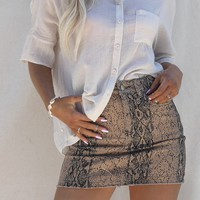 Good Genes Tan Python Denim Skirt