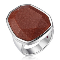 Brown Gold Stone Bezel Ring