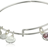 "Alex and Ani ""Bangle Bar"" June Birthstone Shiny-Silver Expandable Bracelet"
