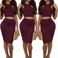 Women Two Piece Outfits New Arrival 2016 Summer Solid 2 Piece Bandage Dress High Waist Sexy Club Bodycon Party Dresses