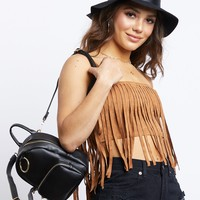 Fringe Suede Crop Top