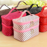 Double layer small dots cosmetic bag makeup tool storage bag multifunctional Storage package