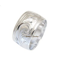 925 STERLING SILVER HAWAIIAN PLUMERIA SCROLL ENGRAVED 12MM SMOOTH EDGE BAND RING
