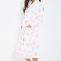Plush Heart-Printed Robe