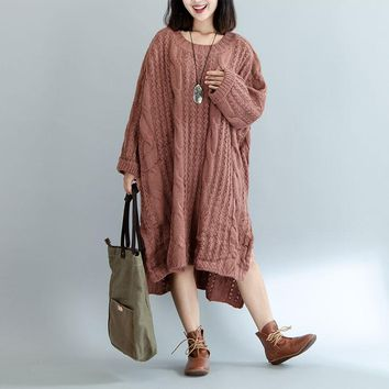 Women Sweater Plus Size Knitted Cotton High Street Striped Fashion Female Solid Oversize Split  Winter European Pullover