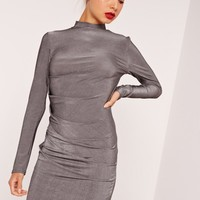 Missguided - Long Sleeve Bodycon Dress Silver