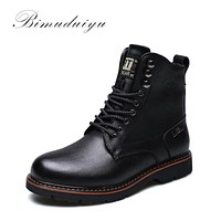 Tactical Waterproof Winter Boots Men Vintage Leather Motorcycle Ankle Martin Male Warm Snow Boots Leather Boots Men