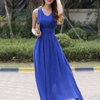 Women's  V-neck Slim  Dress Summer  Long  Solid color Chiffon Dress