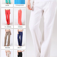 Linen Pants with Fold Over Waist