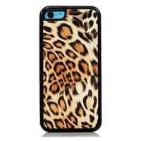iPhone 5C Case, iSee Case (TM) Leopard Print Faux Leather TPU Full Cover Protective Case for Apple iPhone 5C (5C-TPU Leopard Gold)