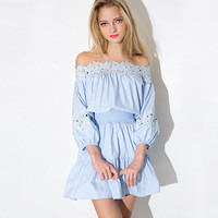 Light Blue Floral Lace Elastic Waist Dress