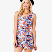 FOREVER 21 Abstract Floral Print Romper Coral/Purple Medium
