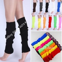 Neon Colors Plain Knitted Leg Warmers Stocking Socks Finger Long leggings = 1958402628