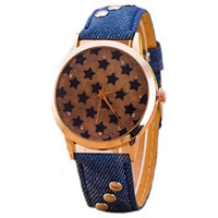 Unisex Casual Vintage Punk Style Leather Stars Wrist Quartz Watch Blue