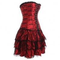 A3093 - Red Gothic Corset Skirt Set