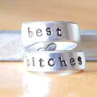 Best Bitches   -  Aluminum Wrap Ring - Adjustable Bff