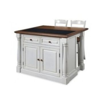 Kitchen Island GraniteTop Two Stools Country Breakfast Bar Distressed White