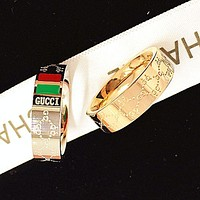 GUCCI classic red and green stripes embossed letter ring