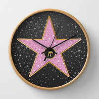 Vintage Hollywood movie star poster Wall Clock by Nick Greenaway