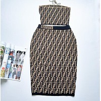 FENDI Trending Women Stylish Full F Letter Jacquard Knit Strapless Set Two-Piece Skirt Coffee I13148-1