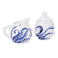 navy blue and white octopus legs ceramic sugar bowl and creamer set