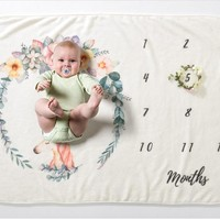 Muslin Baby Milestone Blankets Swaddle Wrap Newborn Bathing Towels Unicorn Cute Soft Fleece Blanket Infant Photography Props