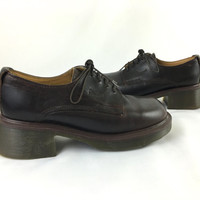 Dr. Martens AirWair Dark Brown Oxfords Made in England UK 5 US Women 7 Chunky Heel Lace Up Ankle Boot 90's New Wave Grunge Platform Boots