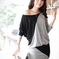 Pure Cotton Women Fashion New Style Long Leeve Round-Neck Over Hip Split Casual Loose One-piece Dress = 1932054852