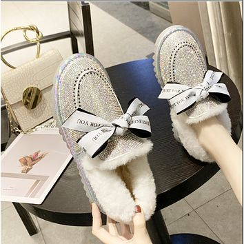 New style hot sale rhinestone bowknot flat-bottomed fashion padded shoes