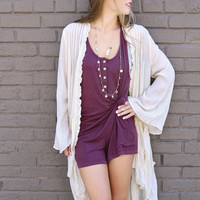 Slow Songs Cream Bell Sleeve Duster Cardigan With Ruffle Details