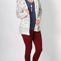 Sky Open Knit Cardigan: Marbled White
