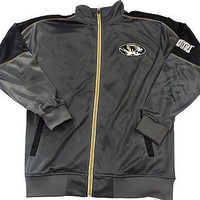 University of Missouri Tigers Tricot Side Panel Full Zip Track Jacket Size LT