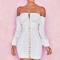 Clothing : Bodycon Dresses : 'Arabella' White Corset Dress